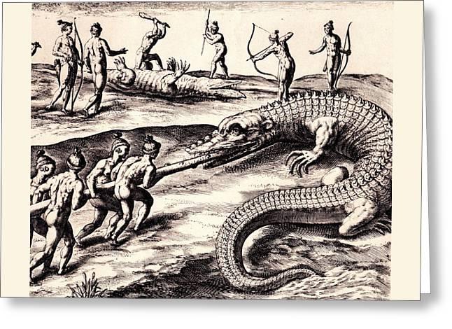 Their Manner Of Killynge Crocodrilles Greeting Card