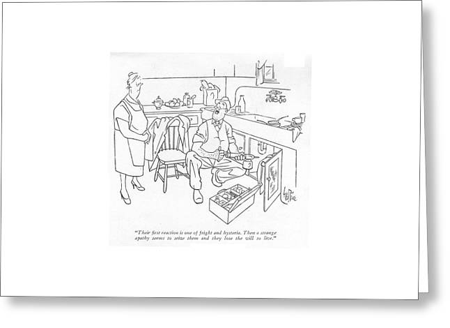Their ?rst Reaction Is One Of Fright Greeting Card by George Price