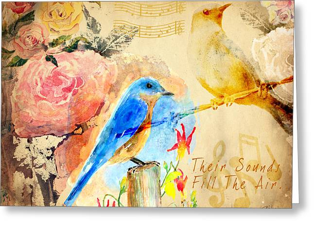 Greeting Card featuring the mixed media Their Sounds Fill The Air by Arline Wagner