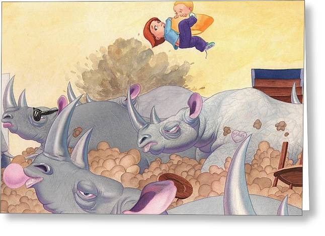 Then Came The Rhinos Greeting Card