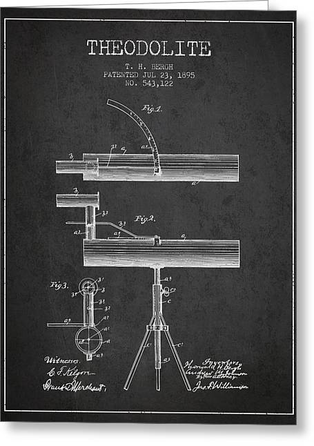 Theodolite Patent From 1895 - Charcoal Greeting Card
