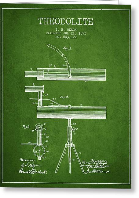 Theodolite Patent From 1895 - Green Greeting Card