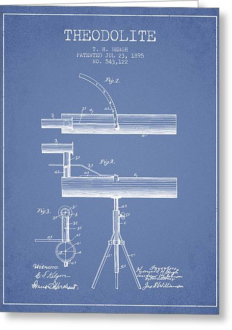Theodolite Patent From 1895 - Light Blue Greeting Card