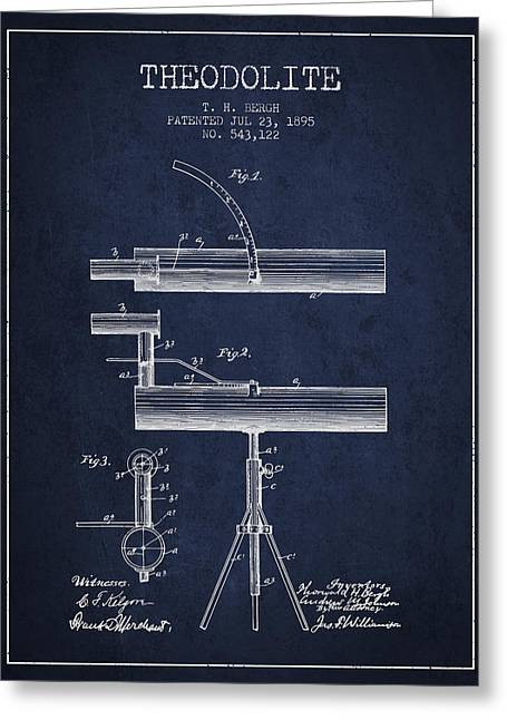 Theodolite Patent From 1895 - Navy Blue Greeting Card