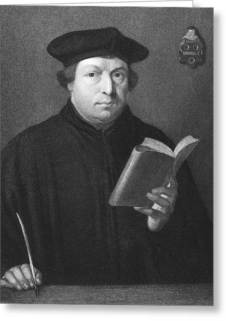 Theologian Martin Luther Greeting Card by Underwood Archives