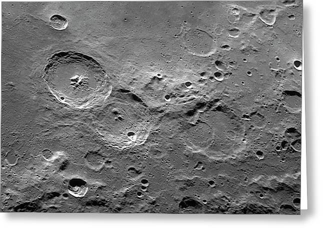 Theophilus Trio Of Lunar Craters Greeting Card by Damian Peach