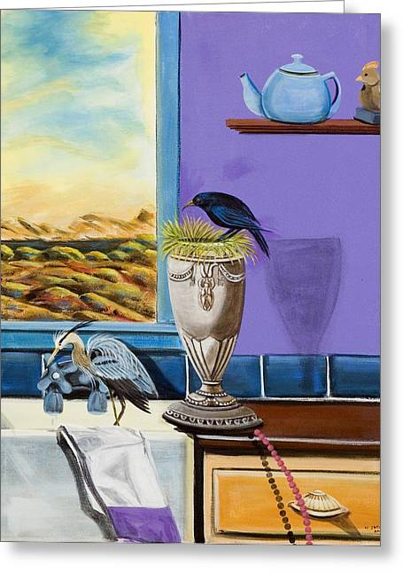 There Are Birds In The Kitchen Sink Greeting Card by Susan Culver