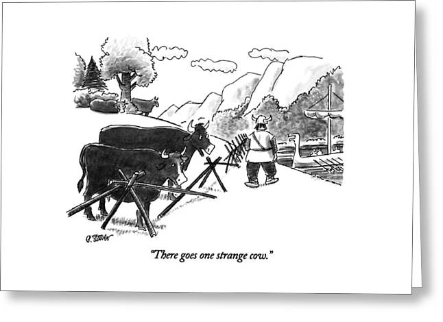 There Goes One Strange Cow Greeting Card