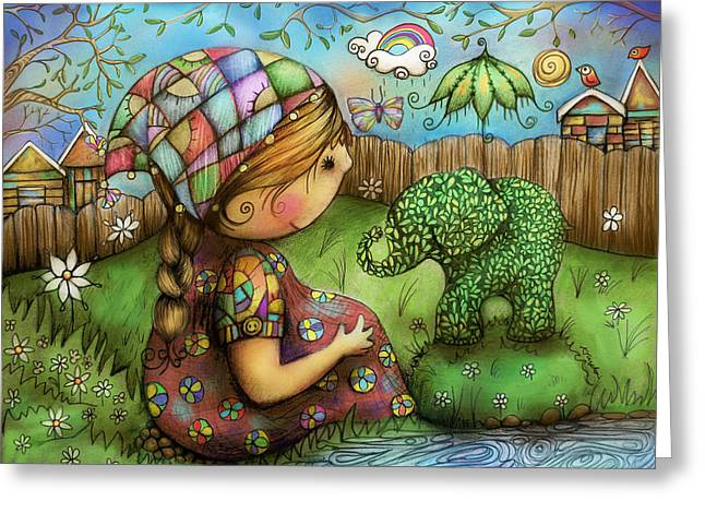 There's An Elephant In My Garden Greeting Card by Karin Taylor