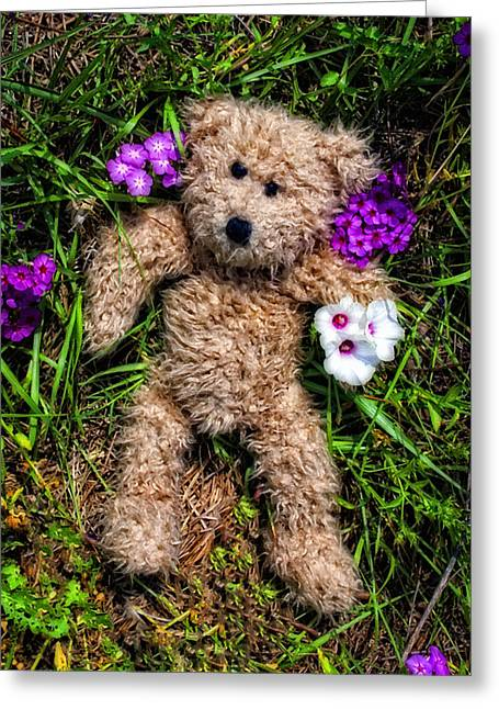 These Are For You - Cute Teddy Bear Art By William Patrick And Sharon Cummings Greeting Card