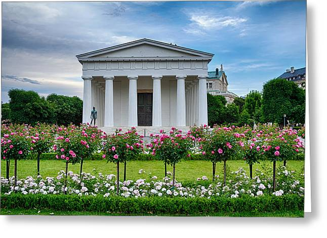 Theseus Temple In Roses Greeting Card by Viacheslav Savitskiy