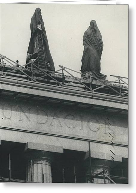 They Don't Like Them Any More; Peron Statues - Covered In Greeting Card by Retro Images Archive