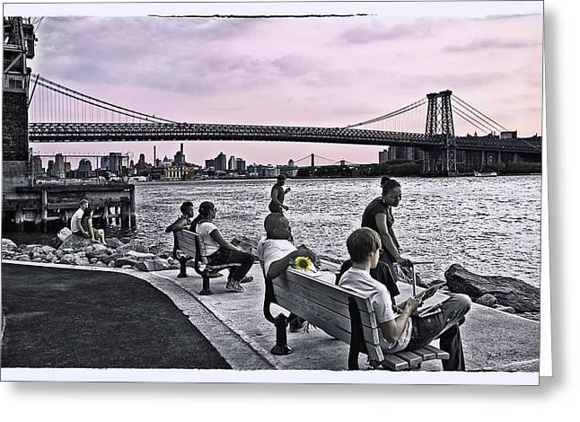 They Gathered At The Williamsburg Bridge - Brooklyn - New York Greeting Card by Madeline Ellis