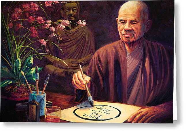 Thich Nhat Hanh Greeting Card by Steve Simon