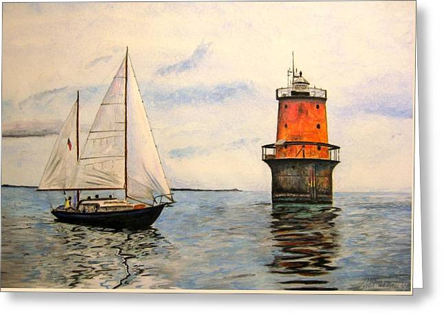 Greeting Card featuring the painting Thimble Shoals Light by Stan Tenney
