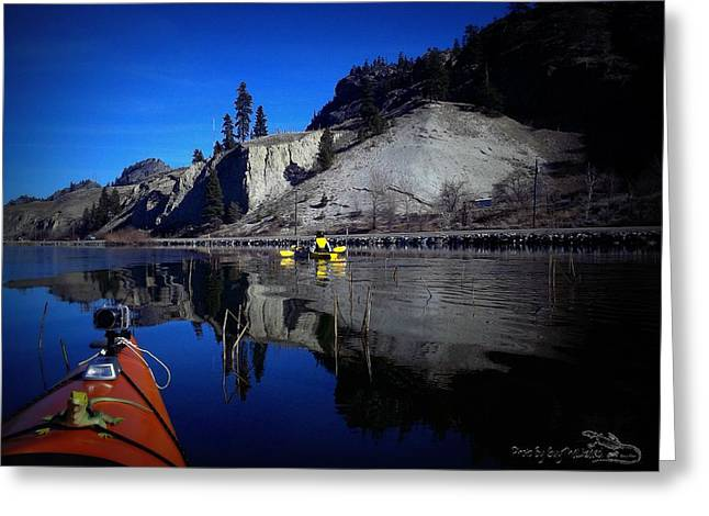 Thin Ice Kayaking Skaha Lake Greeting Card