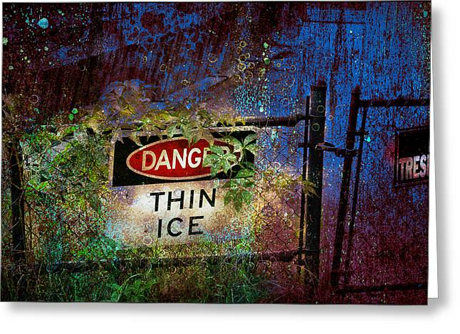 Thin Ice Greeting Card by Rick Mosher