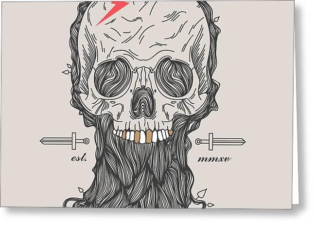 Thin Line Skull Label. Retro Vector Greeting Card