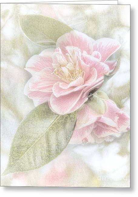 Think Pink Greeting Card by Peggy Hughes