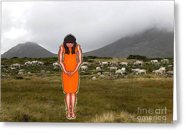 Thinking About The Shepherd Greeting Card by Patrick J Murphy