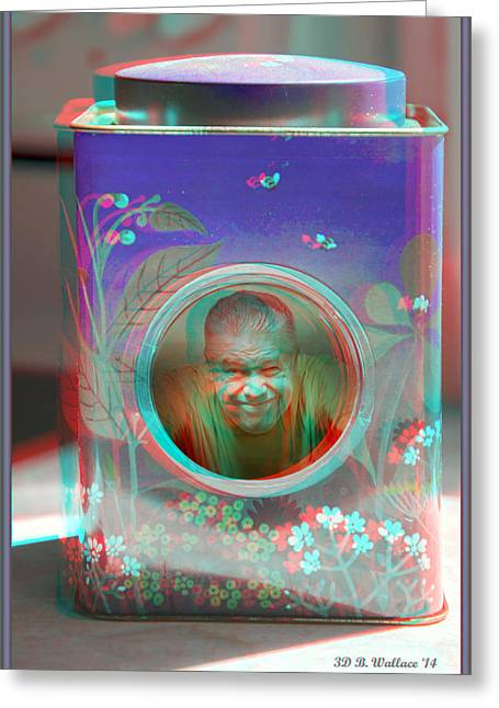 Thinking Inside The Box - Red/cyan Filtered 3d Glasses Required Greeting Card