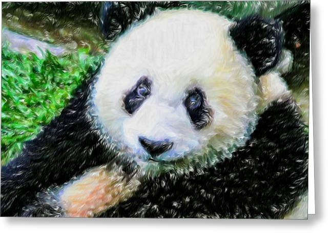Thinking Of David Panda Greeting Card by Lanjee Chee