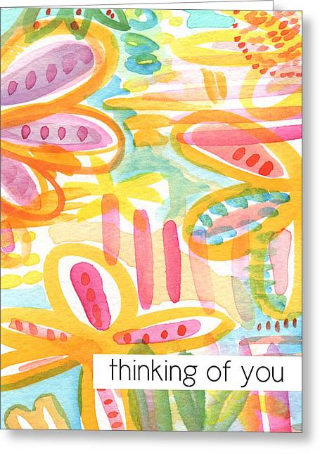 Thinking Of You- Flower Card Greeting Card by Linda Woods