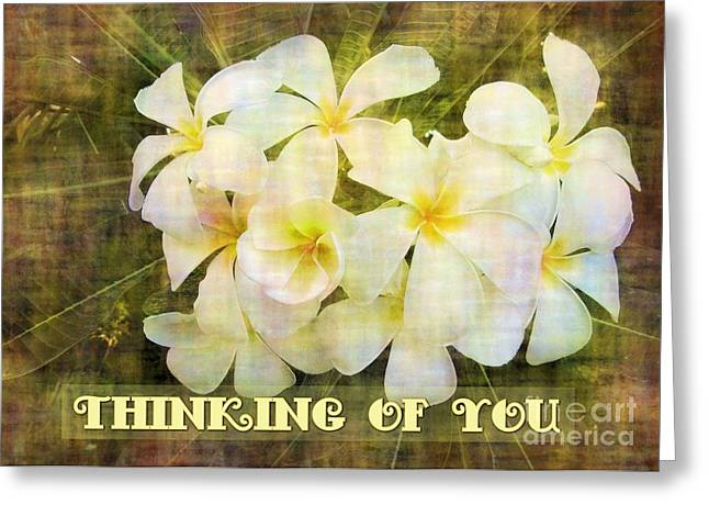 Greeting Card featuring the digital art Thinking Of You Plumeria by JH Designs
