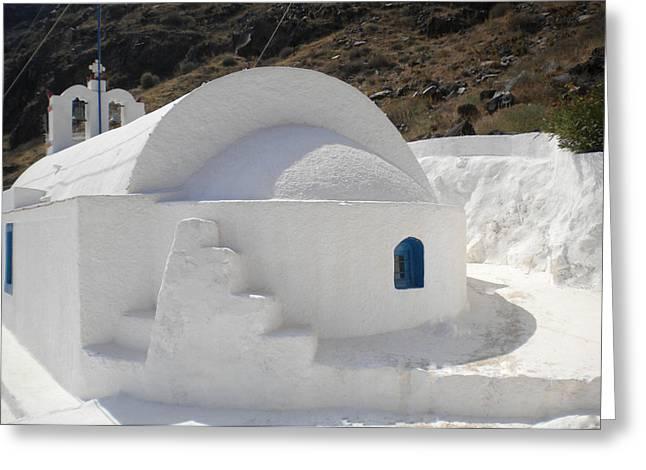 Greeting Card featuring the photograph Thirasia Church Santorini Greece by Colette V Hera  Guggenheim