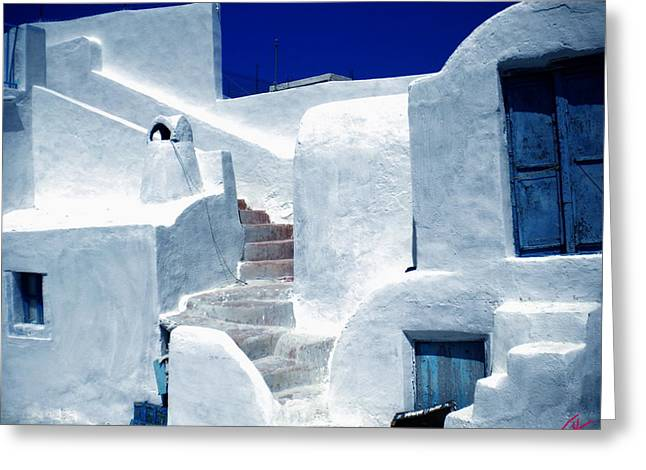 Thirasia Island Ancient House Near Santorini Greece Greeting Card