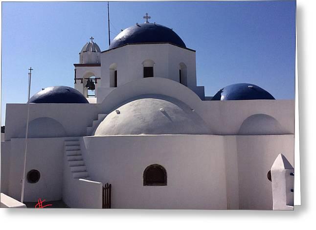 Thirasia Santorini Island Greece Greeting Card