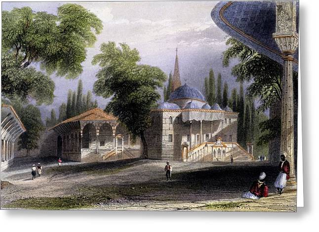 Third Court Of The Serai Bownou, 1850 Greeting Card by William Henry Bartlett