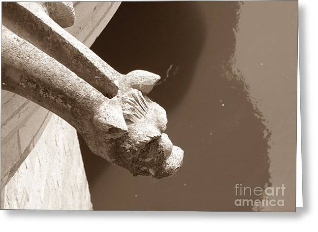 Greeting Card featuring the photograph Thirsty Gargoyle - Sepia by HEVi FineArt