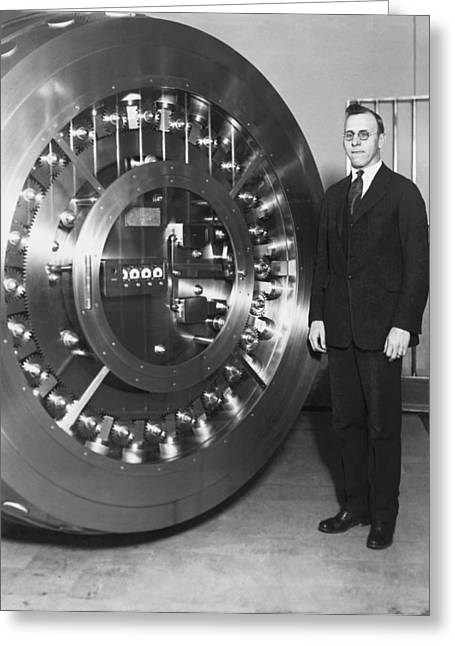 Thirty Ton Bank Vault Door Greeting Card by Underwood Archives