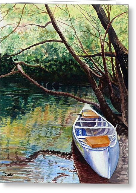 This Canoe Is Waiting For You Greeting Card by Susan Duda