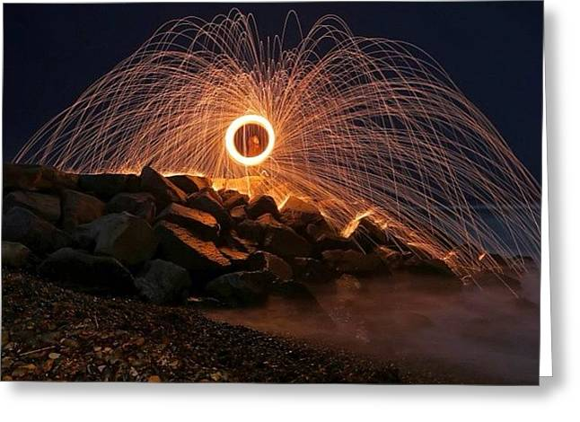 This Is A Shot Of Me Spinning Burning Greeting Card by Larry Marshall