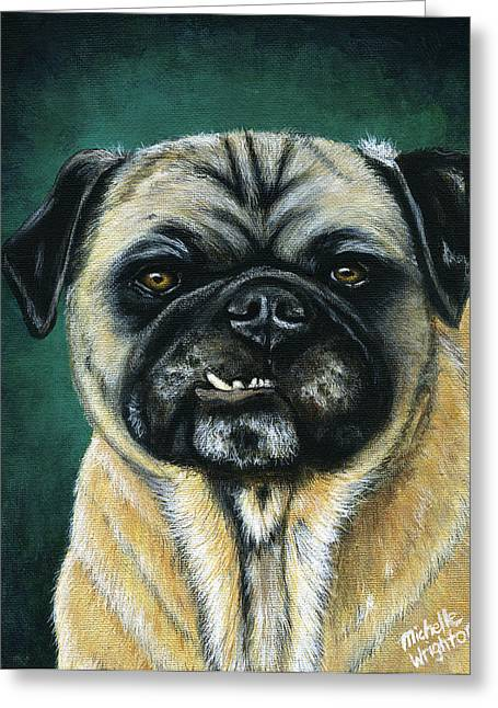 This Is My Happy Face - Pug Dog Painting Greeting Card