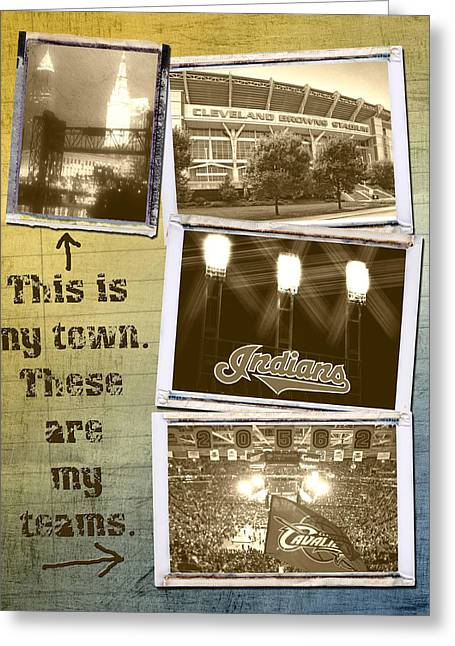 This Is My Town These Are My Teams Greeting Card by Kenneth Krolikowski