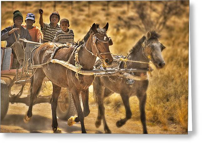 This Is Namibia No. 23 - Going To Town The Old Fashioned Way Greeting Card by Paul W Sharpe Aka Wizard of Wonders