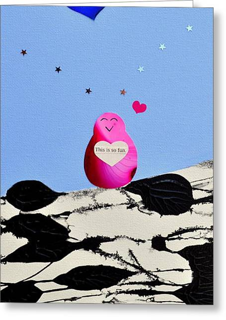 Greeting Card featuring the painting This Is So Fun by Christine Ricker Brandt