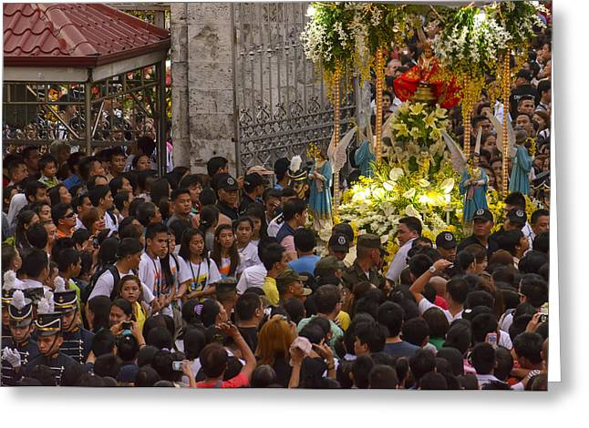 This Is The Philippines No.65 - Santo Nino Entering The Basilica Greeting Card by Paul W Sharpe Aka Wizard of Wonders
