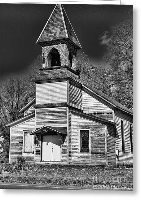 This Old Church In Black And White Greeting Card by Paul Ward