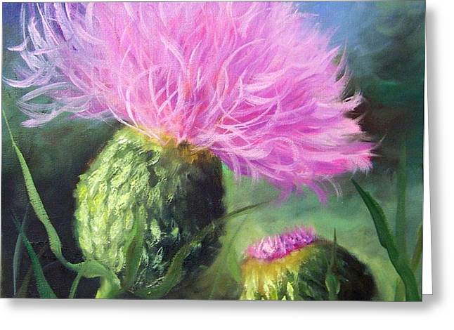 Greeting Card featuring the painting Thistle by Cheri Wollenberg