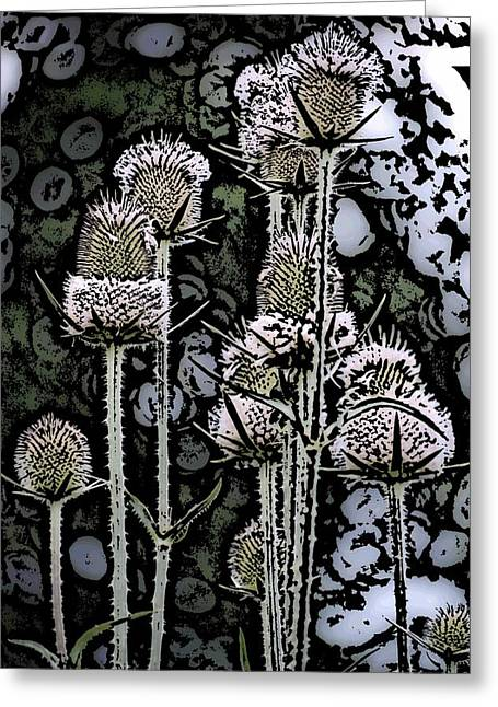 Greeting Card featuring the digital art Thistle  by David Lane