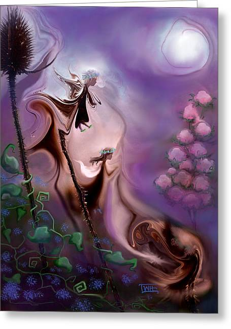 Greeting Card featuring the photograph Thistle Fairies By Moonlight by Terry Webb Harshman