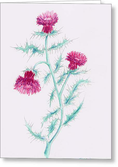 Greeting Card featuring the painting Thistle by Rebecca Davis