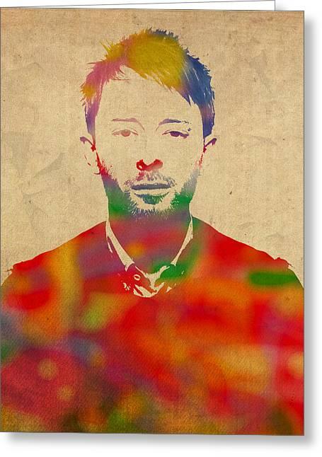 Thom Yorke Radiohead Watercolor Portrait On Worn Distressed Canvas Greeting Card