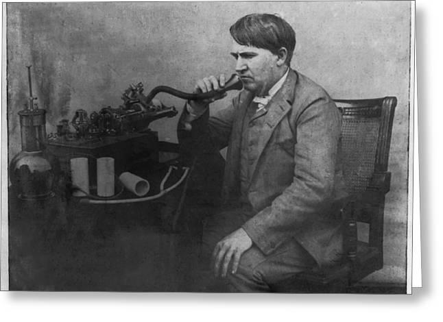 Thomas Alva Edison 1892 Greeting Card by Digital Reproductions