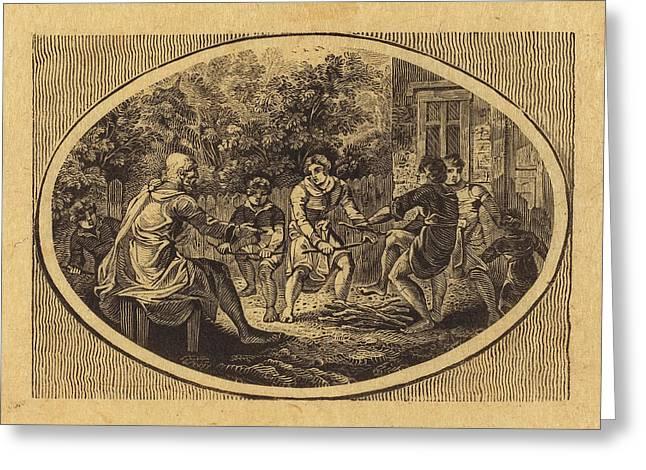 Thomas Bewick British, 1753 - 1828, The Boasting Traveler Greeting Card by Quint Lox