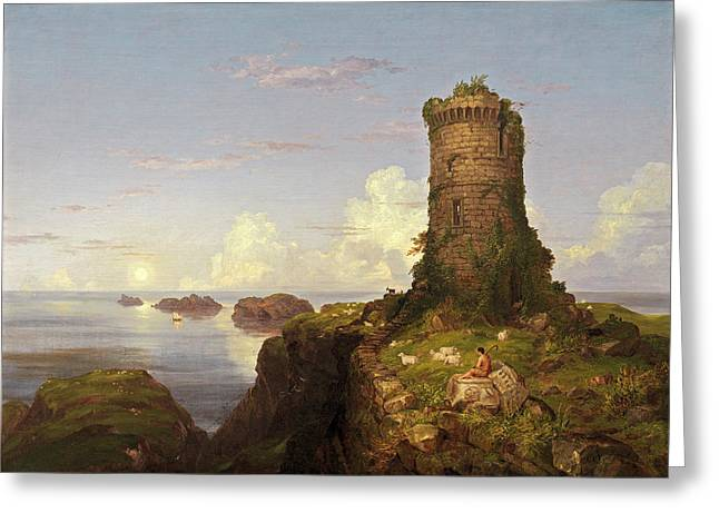Thomas Cole, Italian Coast Scene With Ruined Tower Greeting Card